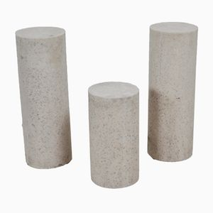 Zylinderförmige Lampen aus Travertin, 1970er, 3er Set