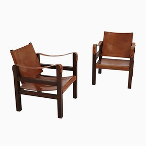 Oak & Leather Chairs, 1960s, Set of 2