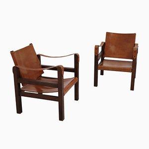 Sedie in quercia e pelle, anni '60, set di 2