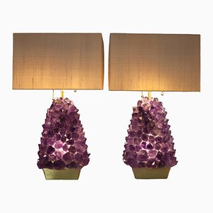 Amethystfarbene Lampen von Demian Quincke, 2er Set