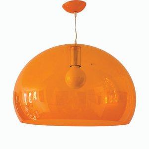 Lámpara colgante era espacial con burbujas en naranja translúcido, años 70