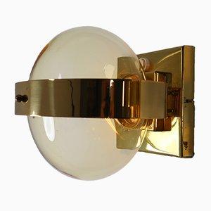 Applique in ottone e vetro soffiato a mano, anni '60