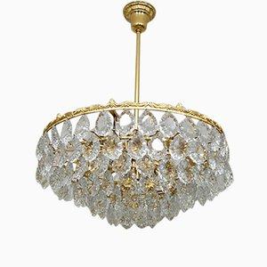 Lámpara de araña Mid-Century de latón dorado y cristal de Palwa