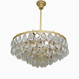 Mid-Century Gilded Brass & Crystal Chandelier from Palwa