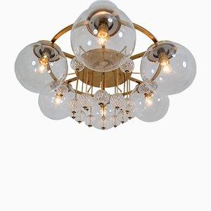 Lampadari in ottone e vetro, anni '70, set di 3