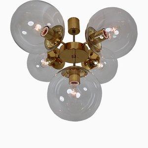 Lámpara de araña de latón con cinco esferas de vidrio soplado transparentes de Kamenický Šenov, años 70