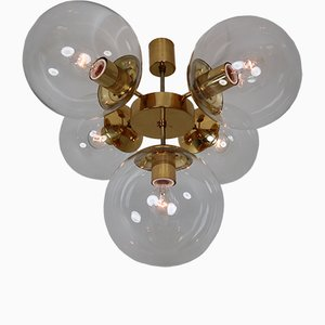 Lampadario in ottone con cinque sfere in vetro soffiato trasparente di Kamenický Šenov, anni '70
