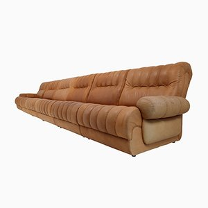 Sectional Sofa & Ottoman in Patinated Cognac Leather, 1970s
