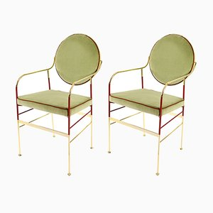 Luigina Chairs in Gold & Sage by Paolo Calcagni for Sotow, Set of 2