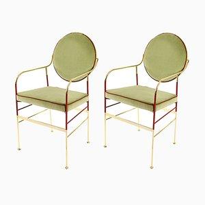 Luigina Stühle in Gold & Salbeigrün von Paolo Calcagni für Sotow, 2er Set