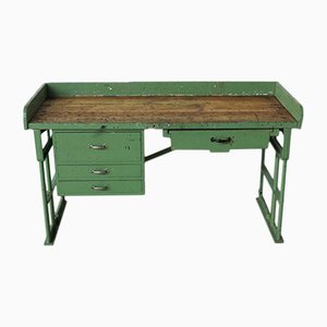 Vintage Industrial Workbench with Cast-Iron Feet