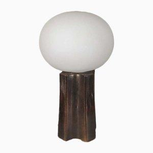 Lampada da tavolo vintage in ceramica e vetro