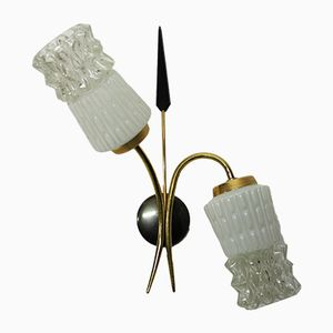 Vintage Glas Wandlampen, 1960er, 2er Set