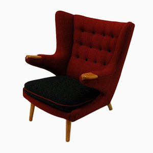 Scandinavian Red Wingback Armchair, 1950s