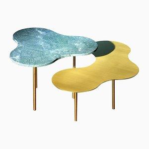 Mesa de centro de vidrio de Sebastian Scherer. Juego de 2