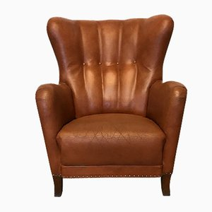 Cognac Leather Lounge Chair, 1940s