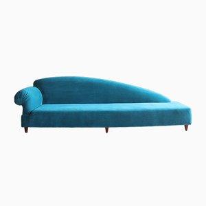 Divano o chaise longue di velluto blu, anni '70