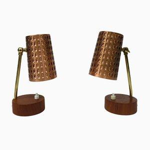 Lámparas de mesita de noche escandinavas, años 50. Juego de 2