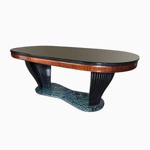 Tavolo in palissandro e vetro opalino nero di Vittorio Dassi per Dassi, Italia, anni '50