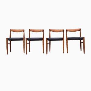Schwarze Esszimmerstühle aus Teak & Leder von H. W. Klein für Bramin, 1960er, 4er Set