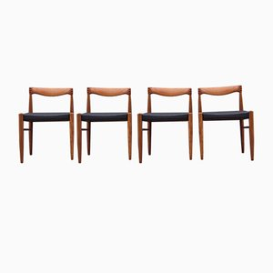 Teak & Black Leather Dining Chairs by H. W. Klein for Bramin, 1960s, Set of 4