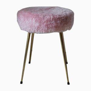 Taburete de peluche rosa, años 70