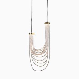 Double Lampe à Suspension Cascade en Laiton par Morghen Studio