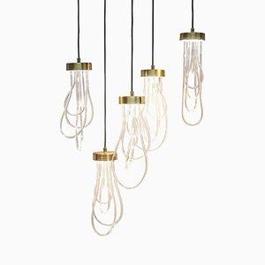 Lampes à Suspension Cascade en Laiton par Morghen Studio