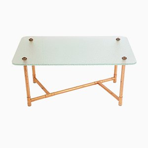 French Copper & Glass Coffee Table, 1950s