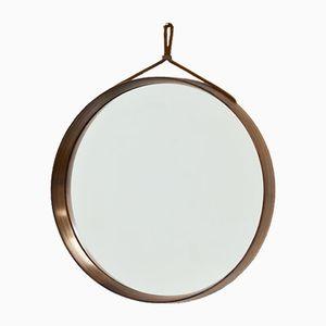 Espejo de pared redondo de palisandro de Uno & Östen Kristiansson para Luxus, años 60