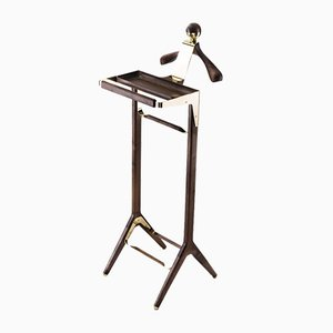 Classical Valet Stand in Brass & Black Walnut by Honorific