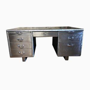 Vintage Schreibtisch aus blankem Metall