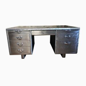 Vintage Stripped Metal Tanker Desk