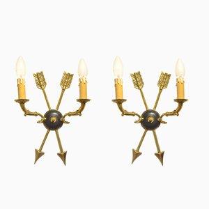Französische Art Deco Wandlampen von Maison Jansen, 2er Set