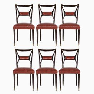 Chaises de Salle à Manger Vintage en Acajou par Osvaldo Borsani, Set de 6