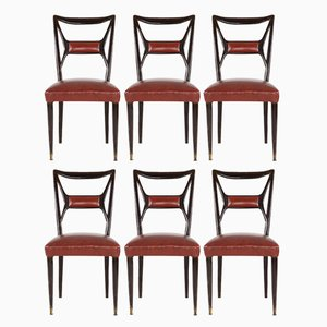 Vintage Mahogany Dining Chairs by Osvaldo Borsani, Set of 6