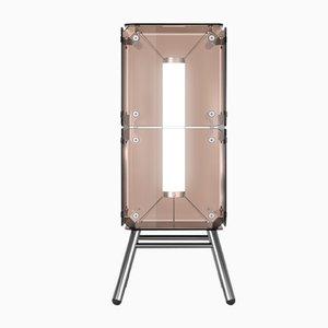 Lámpara de pie Hyperqube de dos módulos de vidrio con LED regulable y estructura de base de Felix Monza