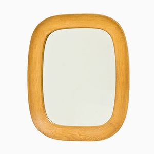 Oval Swedish Oak Wall Mirror from Fröseke, 1950s