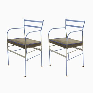 Paul Chair in Blue & Olive by Paolo Calcagni for Sotow, Set of 2