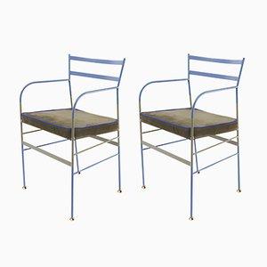 Paul Stuhl in Blau & Olivgrün von Paolo Calcagni für Sotow, 2er Set