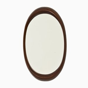 Oval Afromosia Wall Mirror, 1960s