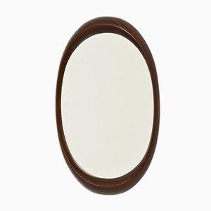 Specchio da parete ovale in afromosia, anni '60