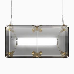 Hyperqube Hängelampe aus Glas mit 2 Modulen und dimmbarer LED von Felix Monza