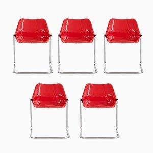 Stapelbare Dany Stühle von Aldo Barbero für Giuseppe Rossi di Albizzate, 1970er, 5er Set