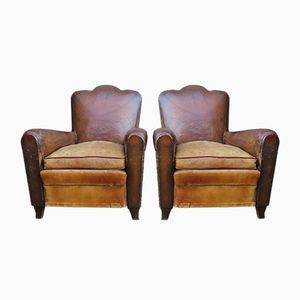 French Leather Club Chairs, 1930s, Set of 2