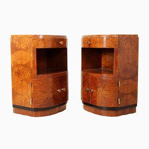 Vintage Art Deco Walnut Bedside Cabinets, Set of 2