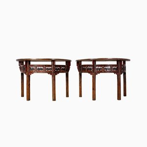 Antique Chinese Half Moon Console Tables, Set of 2
