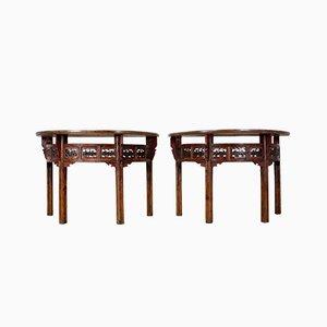 Mesas consola chinas antiguas en forma de medialuna. Juego de 2