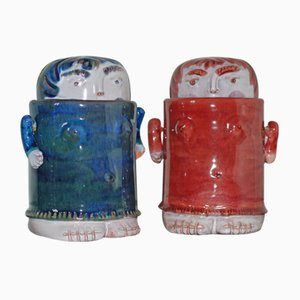 Anthropomorphic Boxes with Articulated Arms by Robert & Jean Cloutier, 1960s, Set of 2