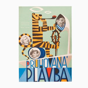Affiche de Film Striped Trip par Josef Hvozdenský, 1961